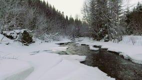 ANTENNE: Flug über dem Fluss im Winter Fallender Schnee stock footage