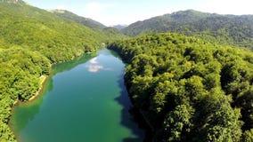ANTENNE: Flug über See mit Wald herum stock video footage