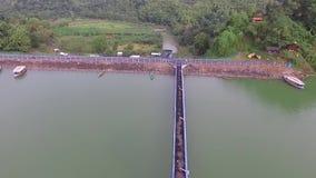 Antenne/hommelmening van de cacaban dam in de slawistad Indonesië stock videobeelden
