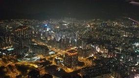 Antenne, Hong Kong bij Nacht Royalty-vrije Stock Foto