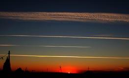 Antenne im Sonnenuntergang stockbild
