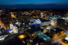 Antenne im Stadtzentrum gelegenes Des Moines Stockbild