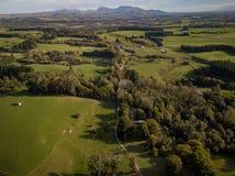 Antenne, Landbouwbedrijven en Wijngaarden van Nieuw Zeeland royalty-vrije stock afbeelding