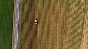 Antenne : le tracteur travaillant aux terres cultivables cultivées de champs, profession d'agriculture, vue de dessus vers le bas clips vidéos