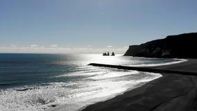 Antenne noire de l'Islande de plage de sable banque de vidéos