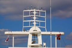 Antenne op schip, Langesund, Noorwegen Stock Foto