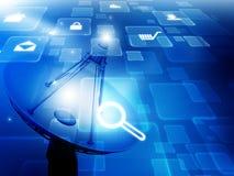 Antenne parabolique avec des icônes d'Internet illustration stock