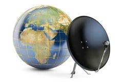 Antenne parabolique avec la terre de globe, conce global de télécommunication illustration de vecteur