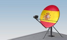 Antenne parabolique avec le drapeau de l'Espagne illustration stock
