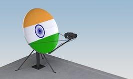 Antenne parabolique avec le drapeau de l'Inde illustration stock