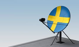 Antenne parabolique avec le drapeau de la Suède illustration libre de droits