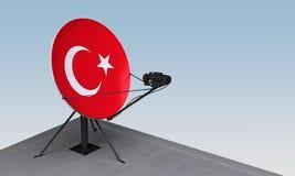 Antenne parabolique avec le drapeau de la Turquie illustration libre de droits