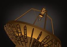 Antenne parabolique d'or sur un noir illustration stock