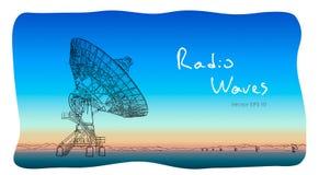 Antenne parabolique de radiotélescope Aspiration de croquis de vecteur illustration libre de droits