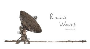 Antenne parabolique de radiotélescope Aspiration de croquis de vecteur illustration de vecteur