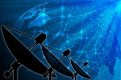 Antenne parabolique sur le fond global pour la transmission et la techno illustration de vecteur