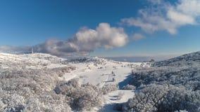 Antenne pour la route neigeuse de countyside avec l'entourage de forêt et de champs projectile Secteur rural d'hiver avec la rout photos stock