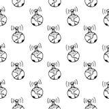 Antenne tirée par la main de modèle sans couture sur la planète Gribouillez noir illustration libre de droits