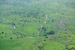 Antenne van Afrikaanse savanne Royalty-vrije Stock Afbeeldingen