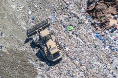 Antenne van bulldozer op het werk, BC, Canada Royalty-vrije Stock Fotografie