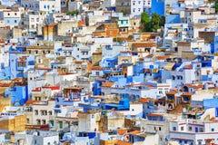 Antenne van de blauwe stad Chefchaouen in Marokko Stock Afbeeldingen