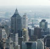 Antenne van de gebouwen van het Lower Manhattan Stock Foto's