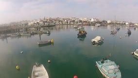 Antenne van de haven in Lagos Algarve Portugal stock video