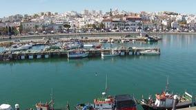 Antenne van de haven van Lagos Portugal stock videobeelden