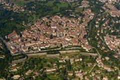 Antenne van de hoge stad van Bergamo, Italië Royalty-vrije Stock Foto