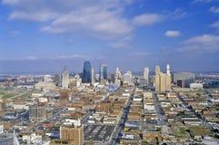 Antenne van de horizon van Kansas City, MO Stock Afbeelding