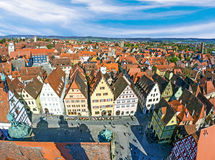 Antenne van de marktplaats van Rothenburg ob der Tauber Stock Afbeeldingen