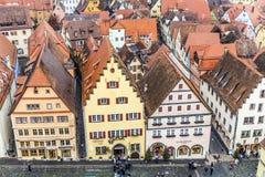 Antenne van de oude stad van Rothenburg ob der Tauber Stock Foto