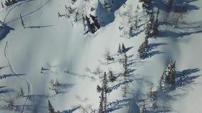 Antenne van de skiërski van de hommelmens het reizen in de sneeuwbergen bergop in een lijn stock video