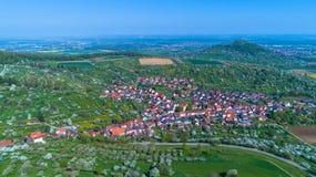 Antenne van een dorp in Duitsland Stock Foto