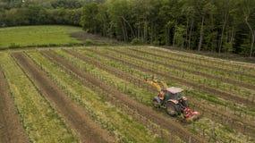 Antenne van een tractor wordt geschoten die aan wijngaard werken die stock afbeelding