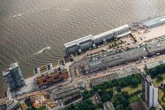Antenne van Fishmarket in Hamburg wordt geschoten dat Royalty-vrije Stock Afbeeldingen