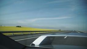 Antenne van Grey Car Driving op Weg naast Gebied van Gele Bloemen en Landbouwgrond wordt geschoten die stock footage