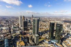 Antenne van het financiële district in Frankfurt Stock Fotografie