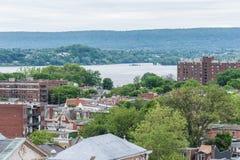Antenne van Historisch Harrisburg van de binnenstad, Pennsylvania naast Royalty-vrije Stock Foto's