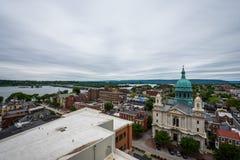 Antenne van Historisch Harrisburg van de binnenstad, Pennsylvania naast Stock Afbeelding