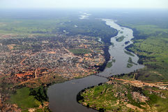 Antenne van Juba, hoofdstad van Zuid-Soedan Stock Foto