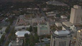 Antenne van Mormoonse Tempel in Salt Lake City Utah wordt geschoten dat stock videobeelden
