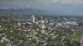 Antenne van Salt Lake City van de binnenstad Utah wordt geschoten dat stock footage