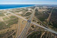 Antenne van snelwegkruising in Zuid-Afrika Stock Foto