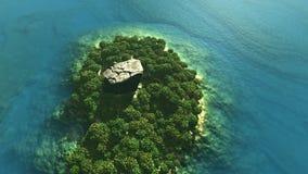 Antenne van tropisch eiland met regenwoud en rots wordt geschoten die vector illustratie