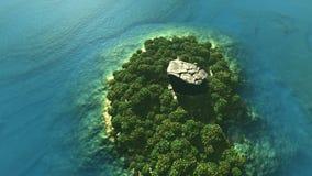 Antenne van tropisch eiland met regenwoud wordt geschoten dat stock footage
