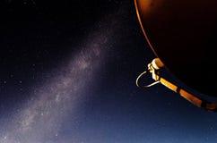 Antenne van TV van de Zijaanzicht de Oranje Satellietschotel bij nacht met melkachtig Stock Foto