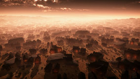 Antenne van verre woestijnstad bij zonsondergang in de mist Royalty-vrije Stock Foto's
