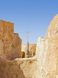 Antenne in verlaten woestijndorp Stock Afbeeldingen