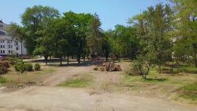 Antenne von entwurzelten Bäumen an der Parkrekonstruktion in Vorbereitung auf Stadtentwicklung Baustelle und städtisches stock video